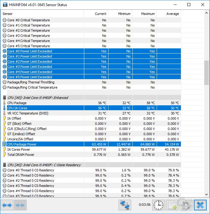 Intel Core i5-9400F im Power Limit von 65 Watt