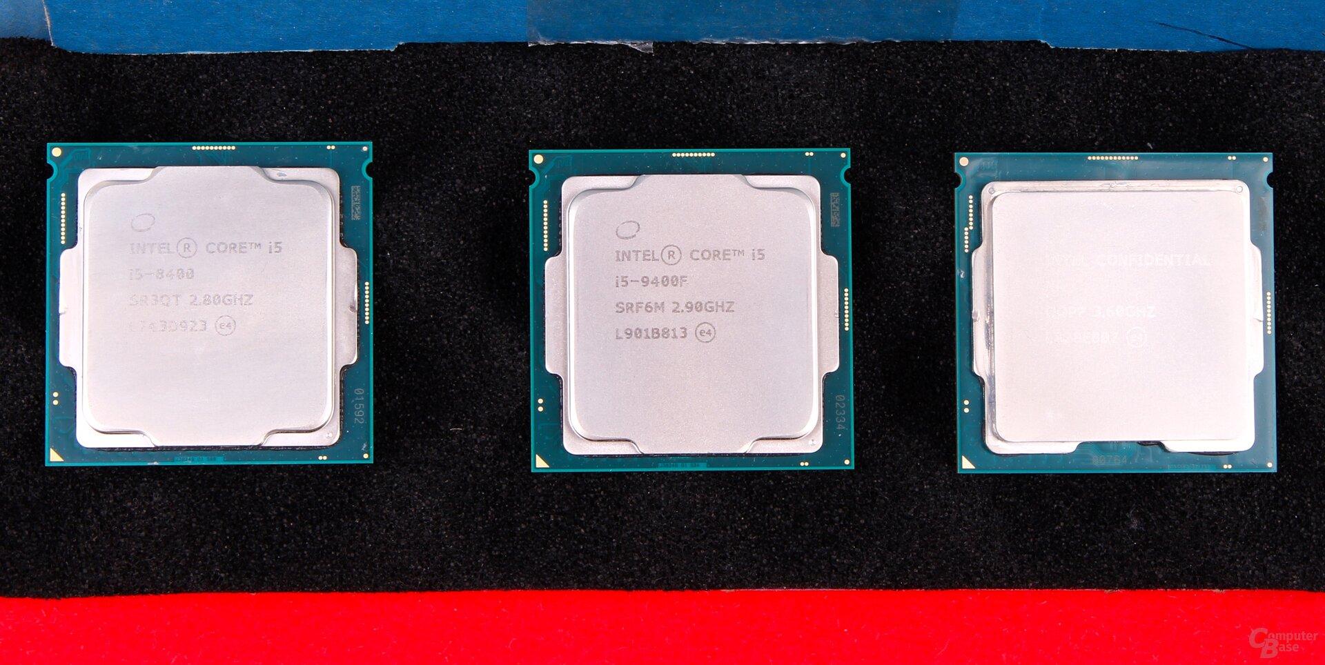 i5-8400 und i5-9400F mit gleichem Heatspreader, 9900K setzt auf neues Modell