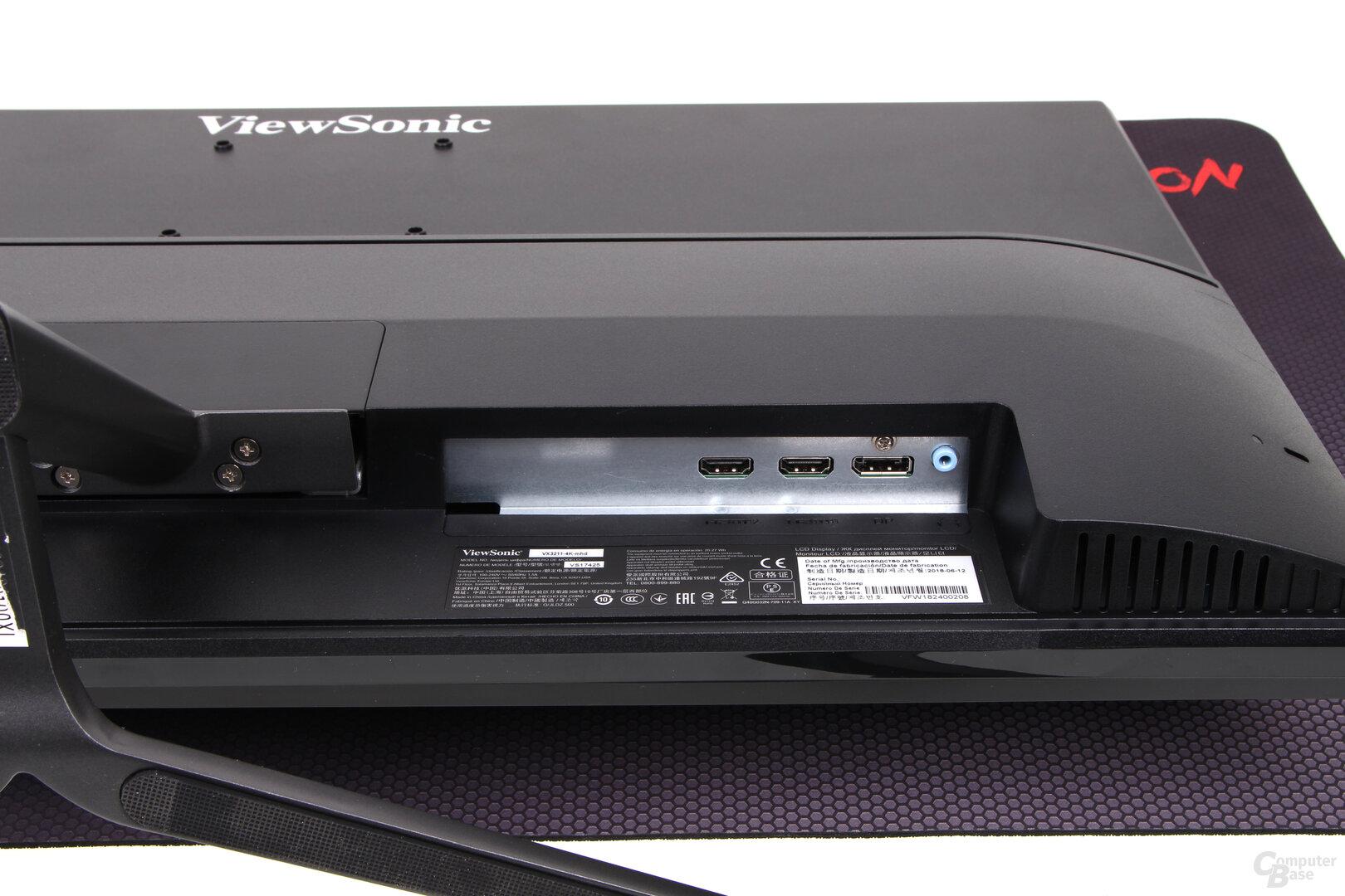 ViewSonic VX3211-4K – Schlecht zugängliche Anschlüsse