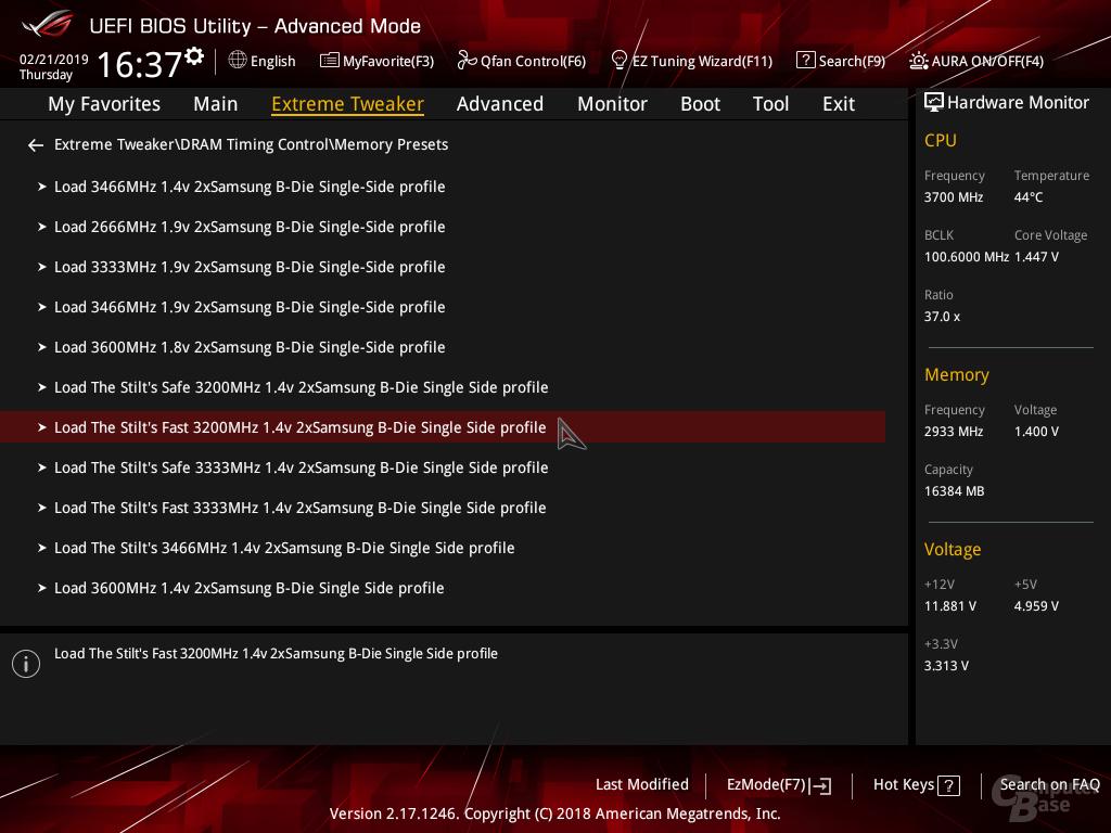 BIOS-Presets im Asus ROG Crosshair VII Hero