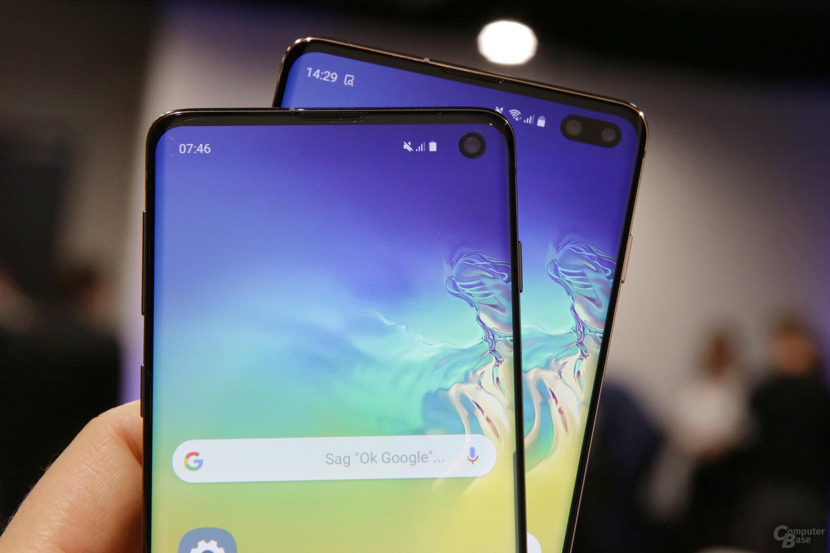 Galaxy S10 und Galaxy S10+ mit Aussparung im Display