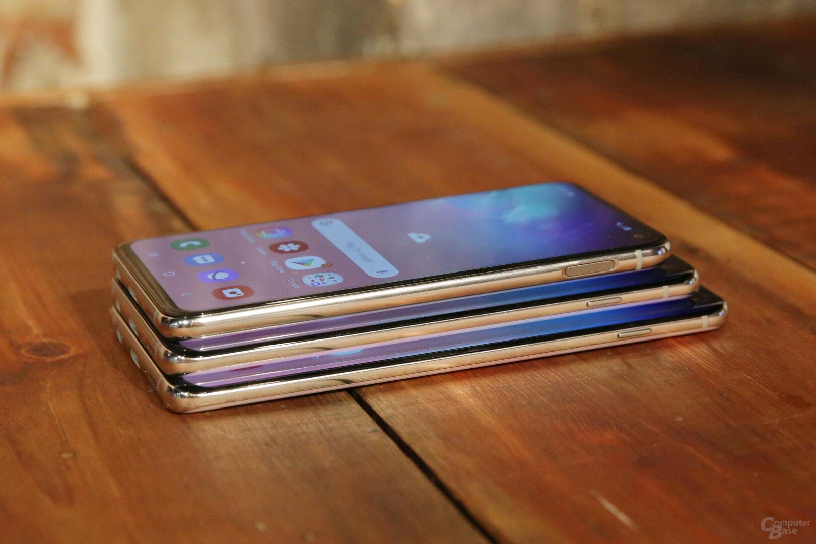 Galaxy S10e, Galaxy S10 und Galaxy S10+ im Größenvergleich