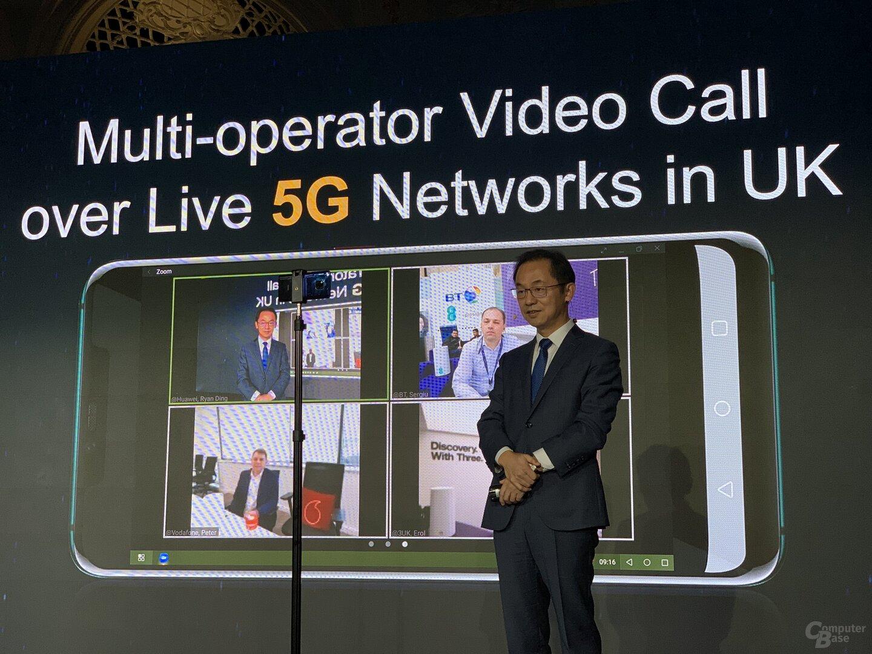 5G-Videoanruf zwischen drei UK-Mobilfunkanbietern