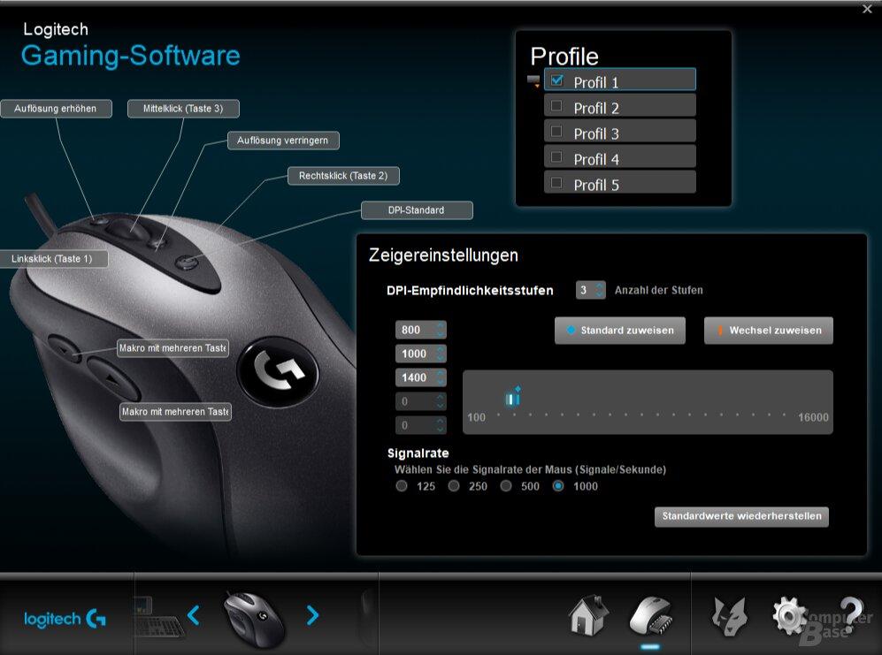 Sensor und Tasten lassen sich in fünf Profilen konfigurieren