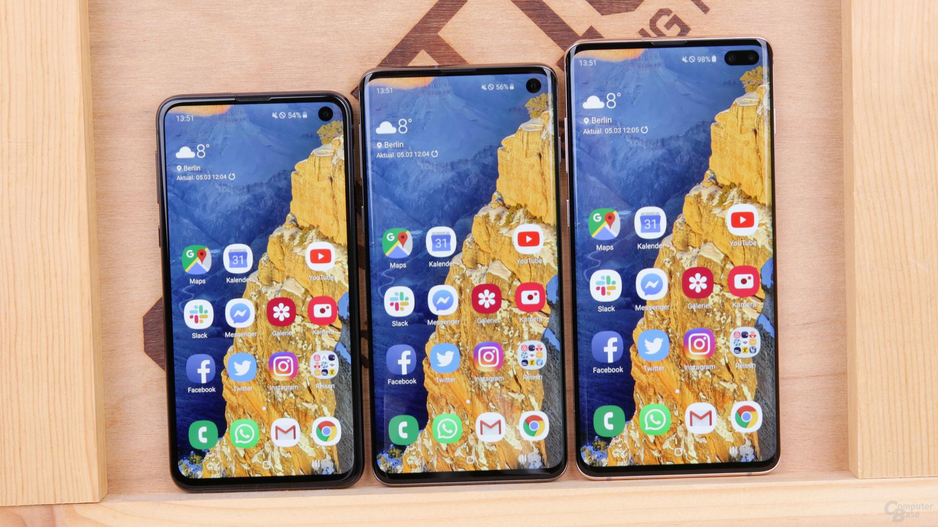 Samsung Galaxy S10e, S10 und S10+ im Test
