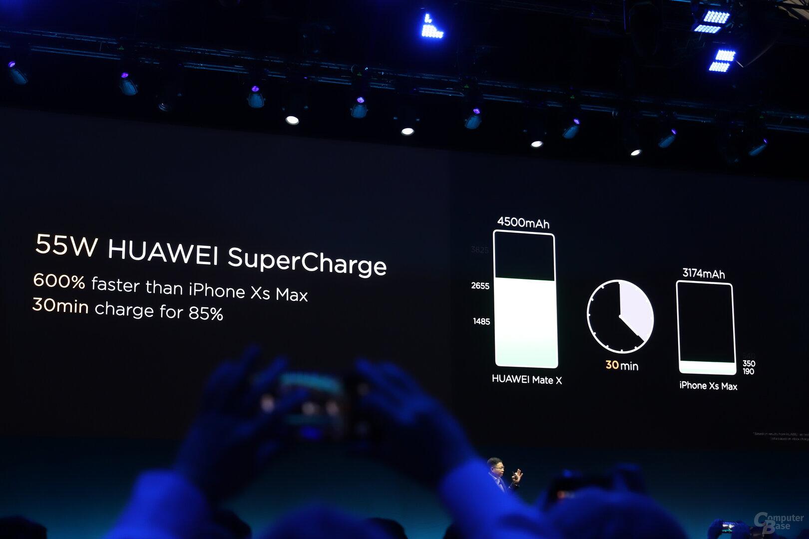 55-Watt-Fast-Charge lädt 85 Prozent in 30 Minuten