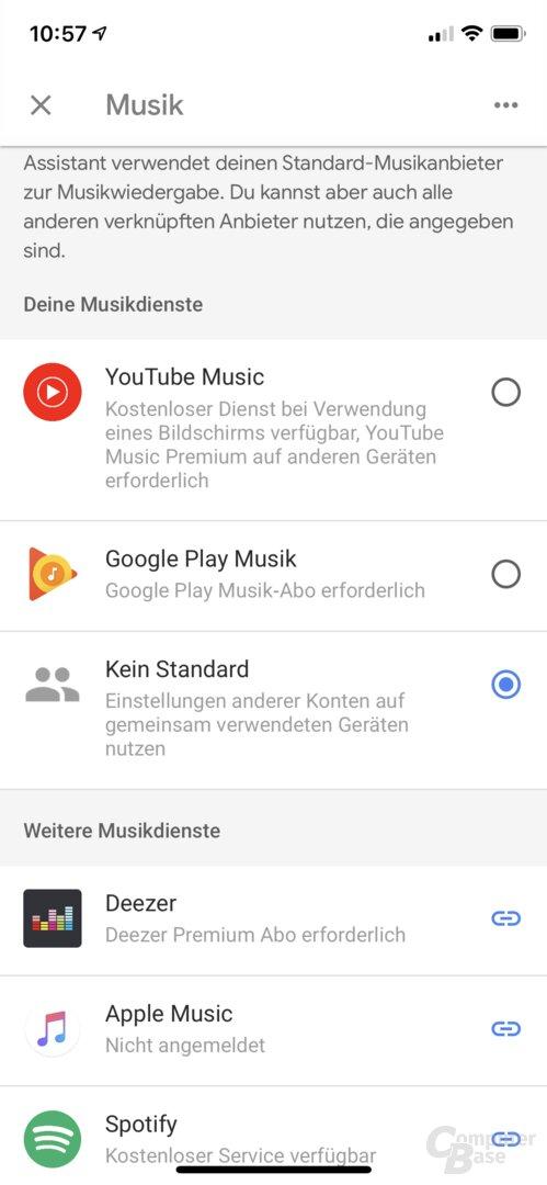 Google-Home-App listet Apple Music
