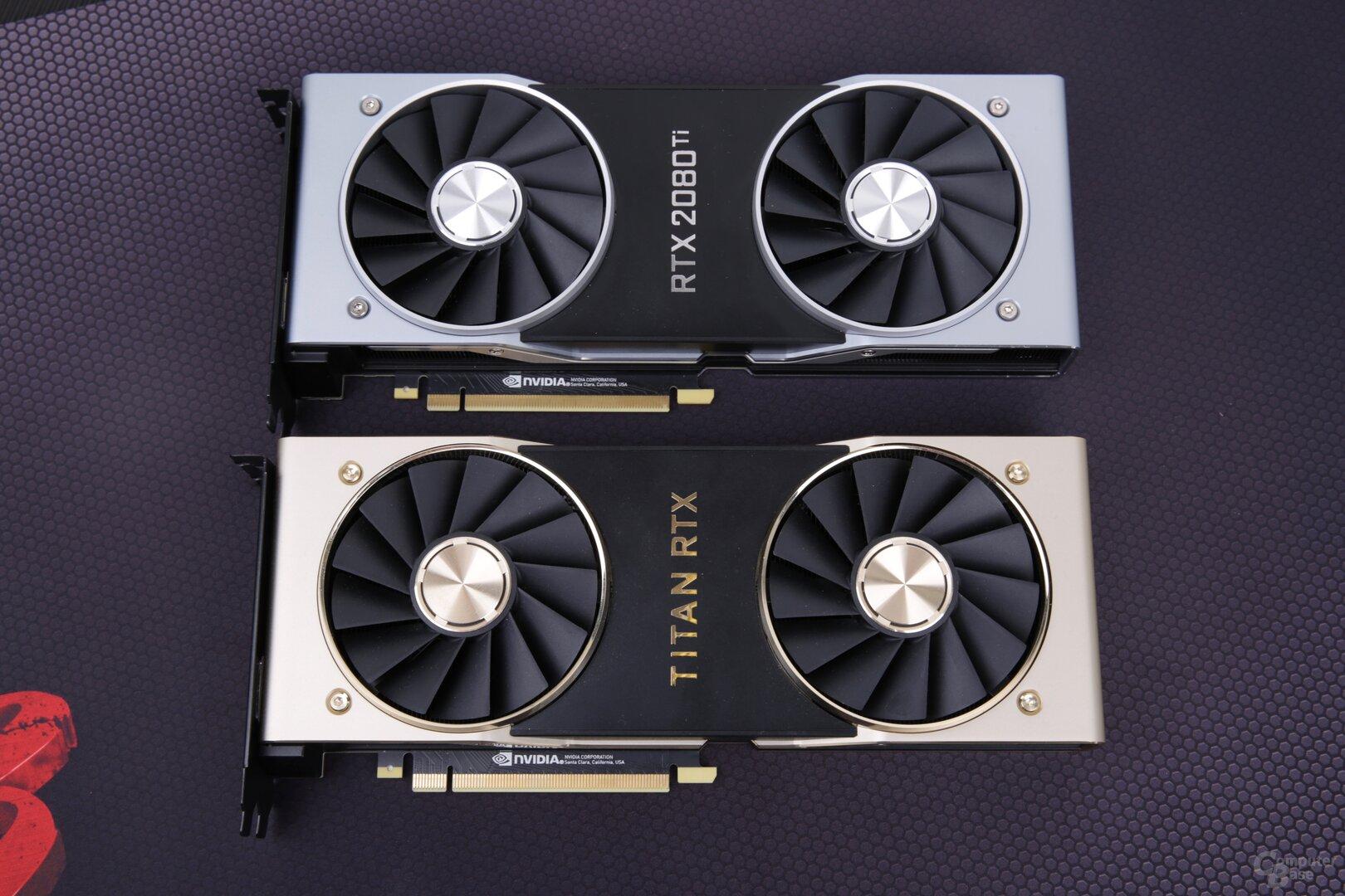Nvidia RTX 2080 Ti (oben) und Titan RTX (unten)