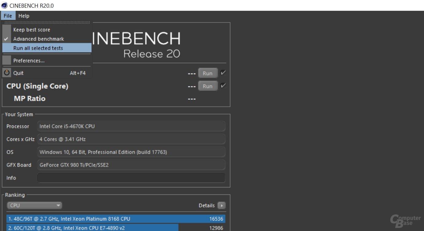 Die Community testet den Benchmark Cinebench R20 - ComputerBase