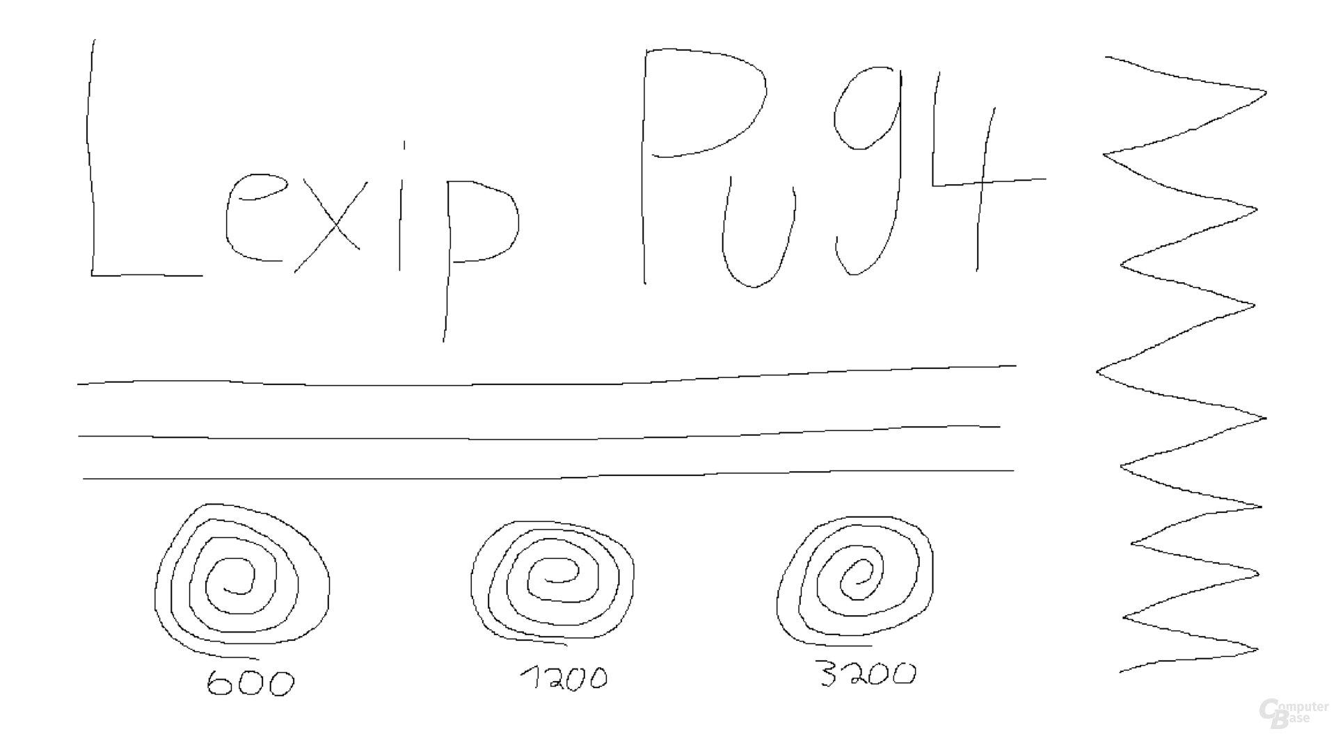 Lexip Pu4; Avago/PixArt ADNS-9800 (350 Hz, Mikrofaseruntergrund)