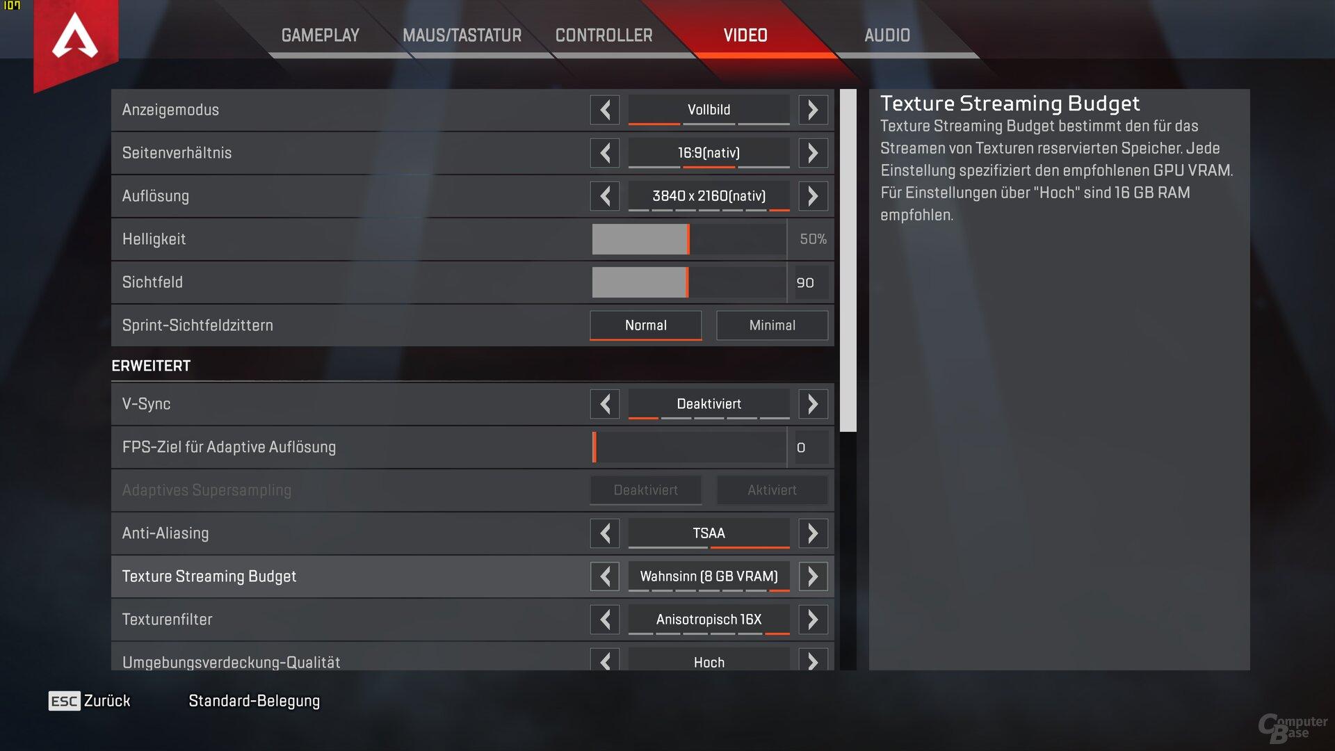 Das Texture Streaming Budget wird an die eigene GPU angepasst