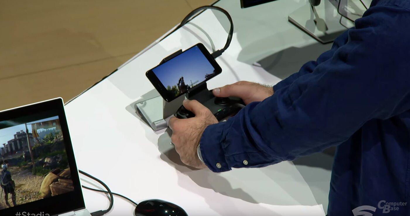 Stadia auf Smartphone (Pixel 3)