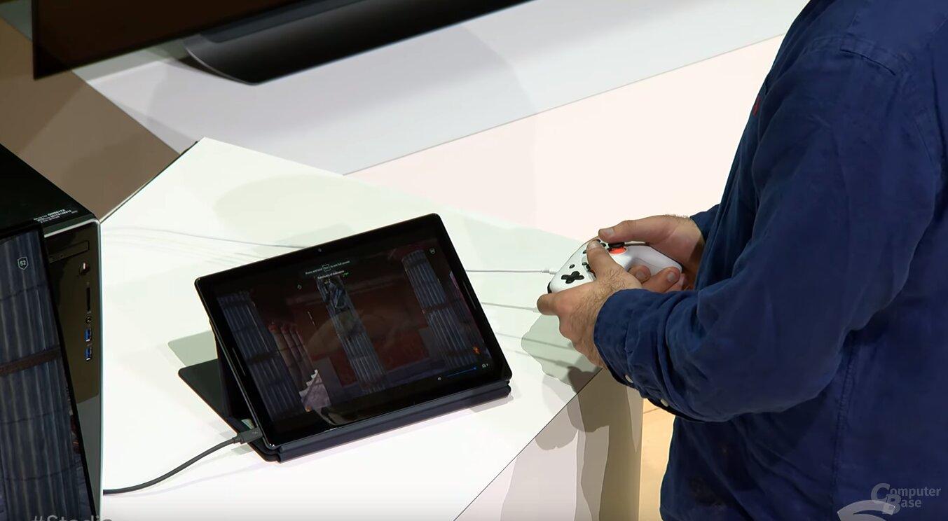 Stadia auf Tablet (Pixel Slate)