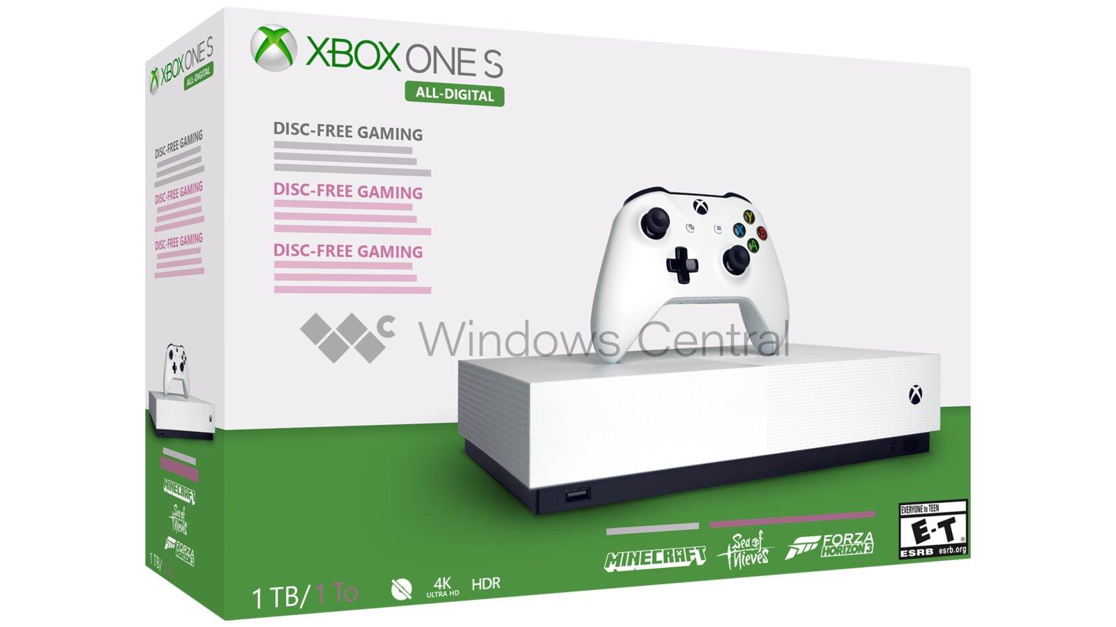 Von Windows Central nachgezeichnetes Artwork der Xbox One S All-Digital
