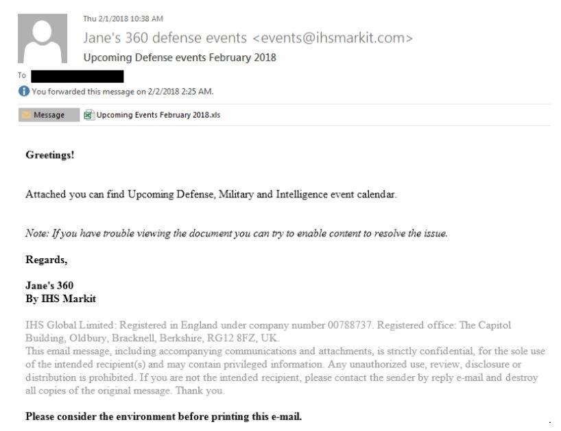 Spear-Phishing-Email von APT28 an die rumänische Botschaft in Moskau
