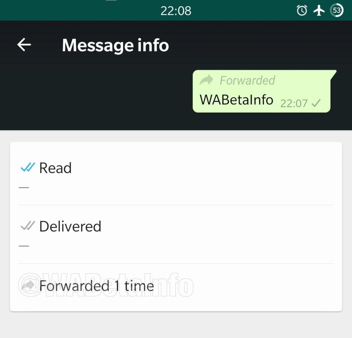 Forwarding Info in WhatsApp 2.19.80