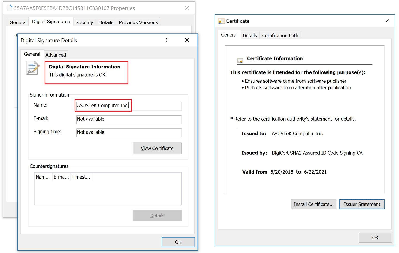 Digitale Signatur des verseuchten Installers des Asus Live Update