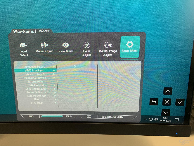 OSD des ViewSonic VX3258-2KC