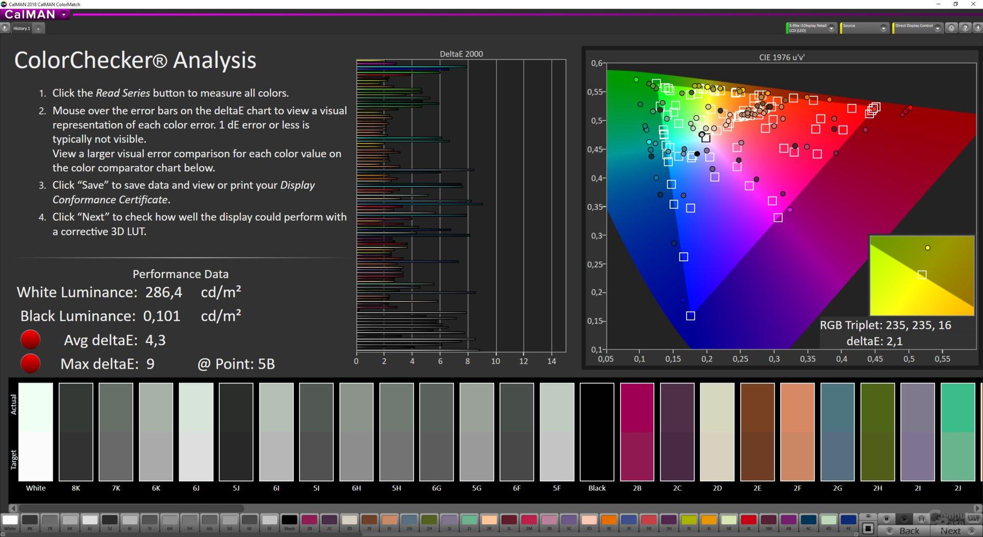 ColorMatch-Testergebnis des ViewSonic VX3258-2KC im Modus sRGB