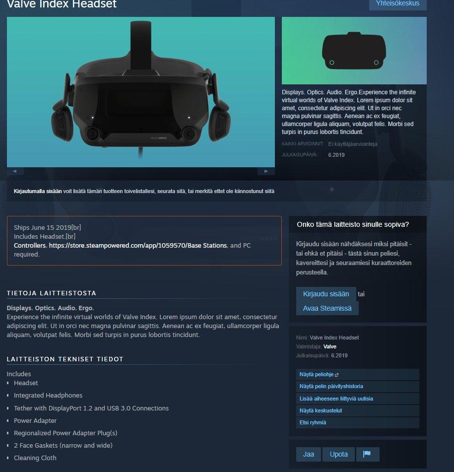 Mutmaßliche Produktseite zum VR-Headset Valve Index