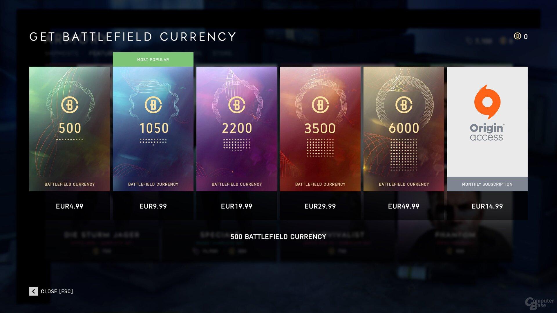 EA verkauft Währungen in unterschiedlichen Paketen