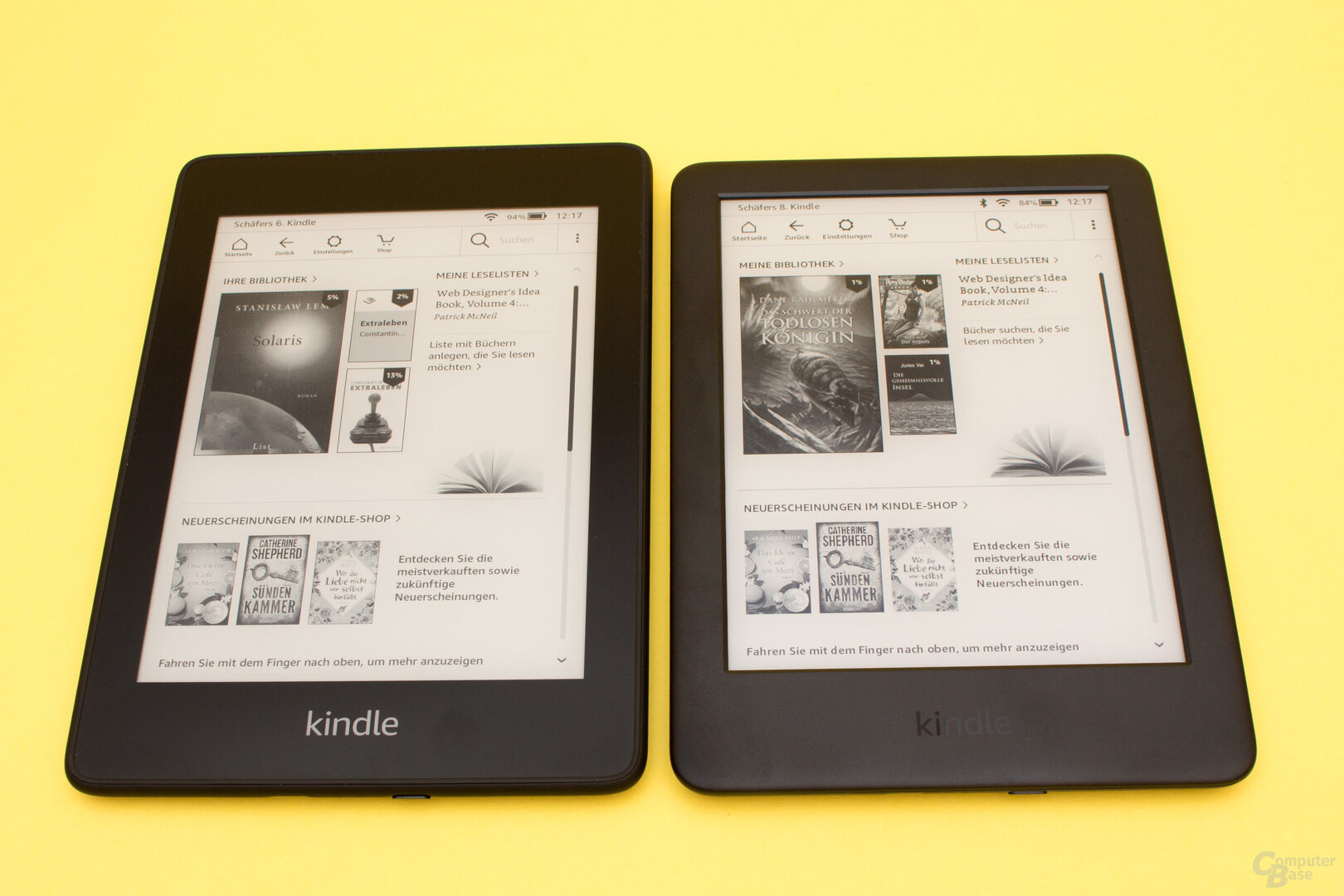 Größenvergleich Kindle Paperwhite 2018 (links) und dem Kindle 2019 (rechts)