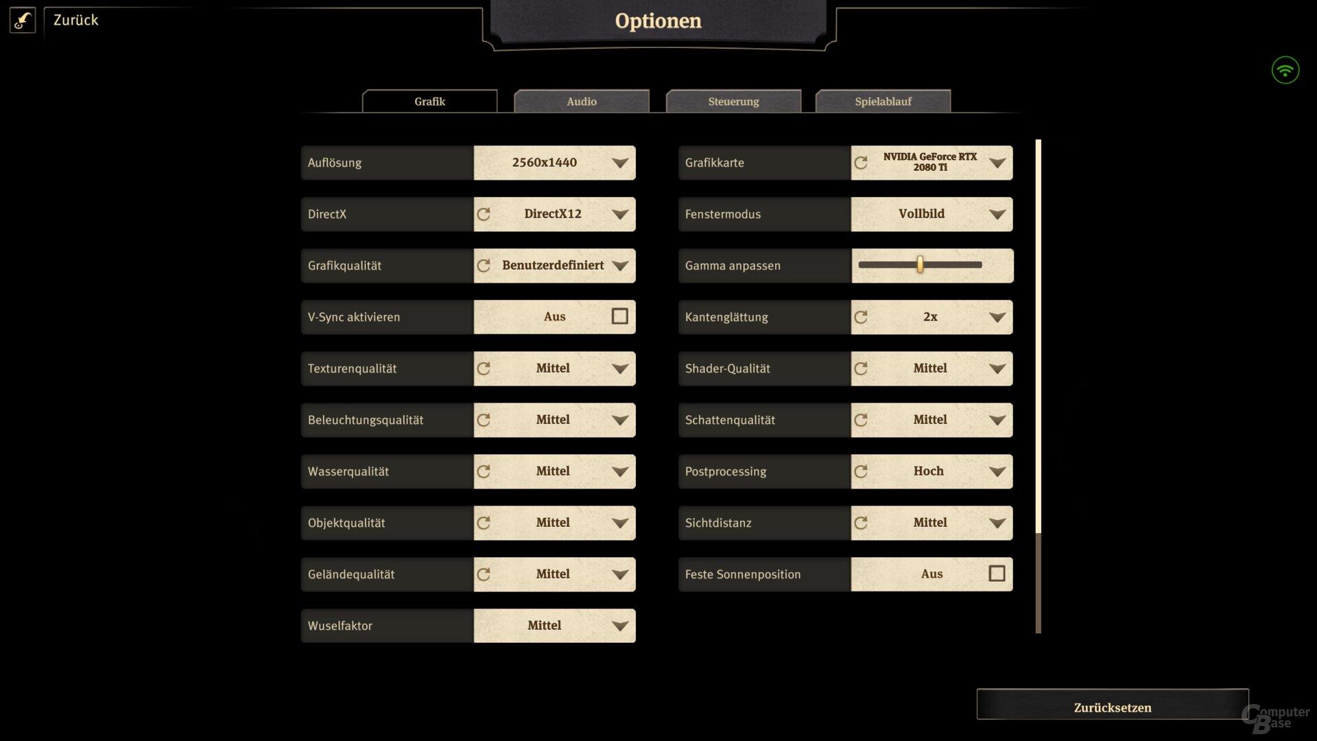 Reduzierte Settings in WQHD