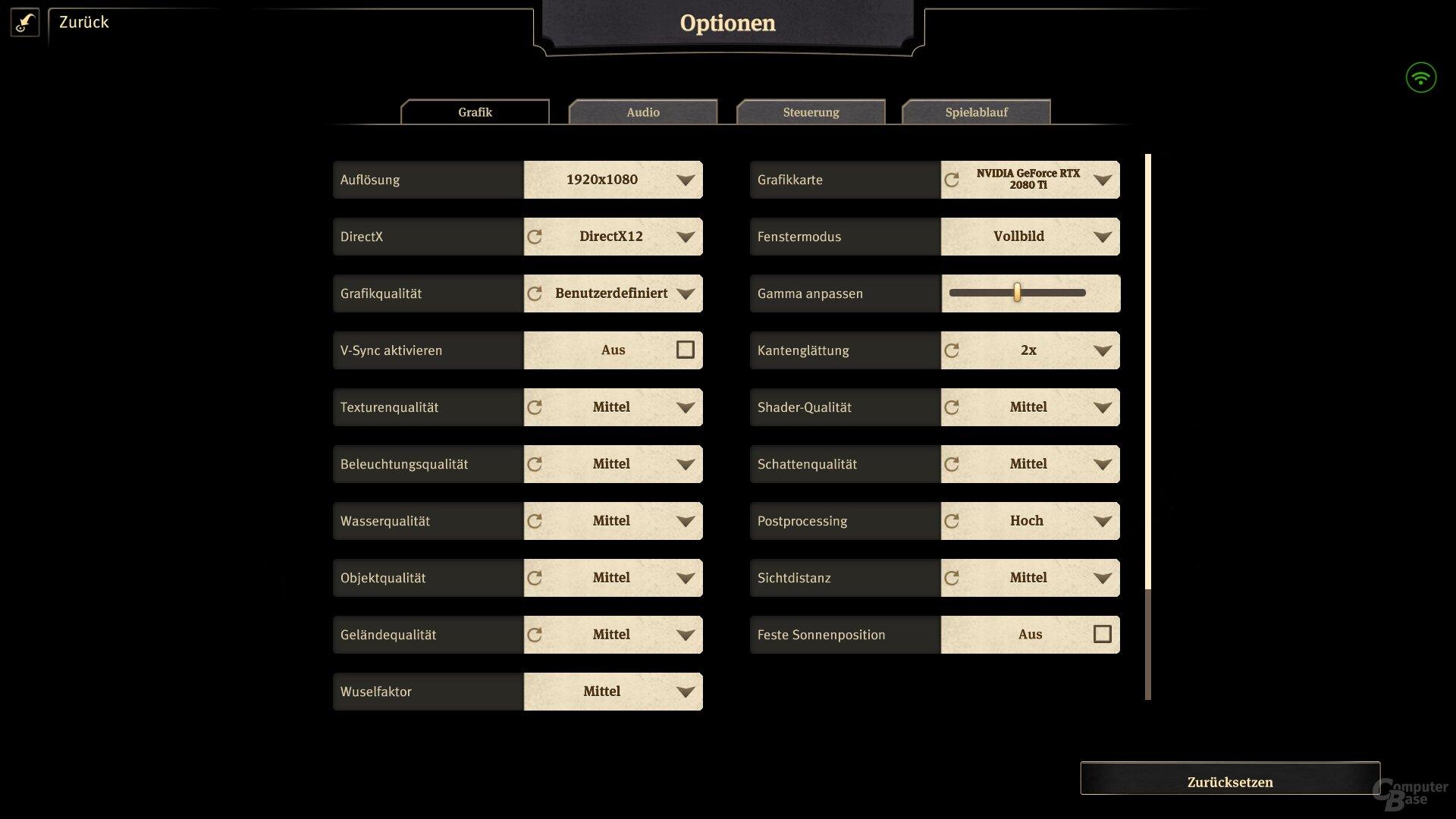 Reduzierte Settings in Full HD