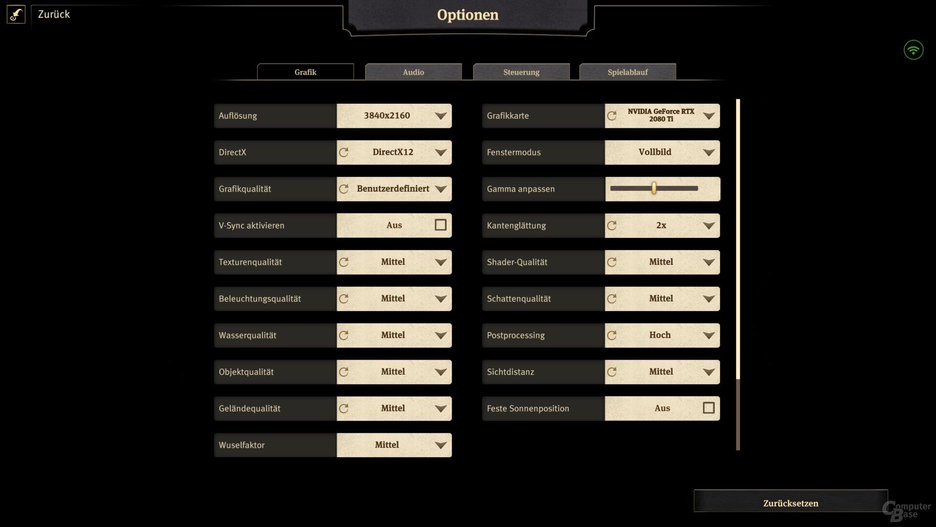 Reduzierte Settings in Ultra HD