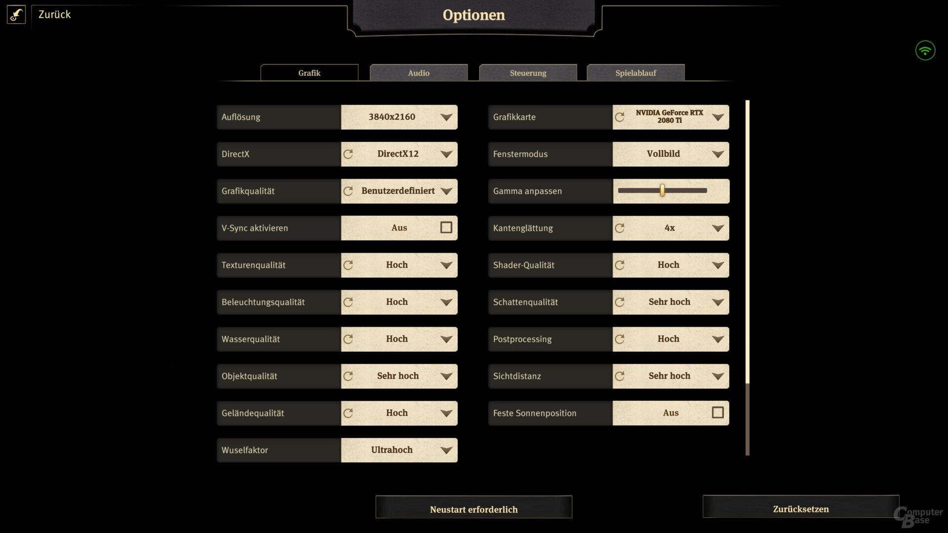 CB-Settings in Ultra HD