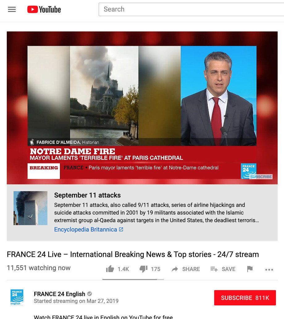 9/11-Hinweis unter dem France-24-Livestream