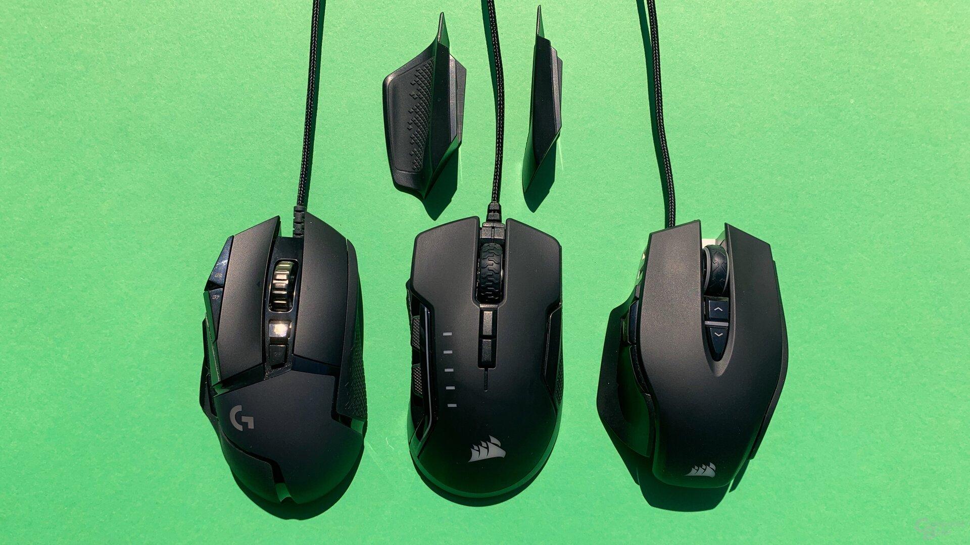 Logitech G502 Hero, Corsair Glaive RGB Pro und Corsair M65 RGB Elite