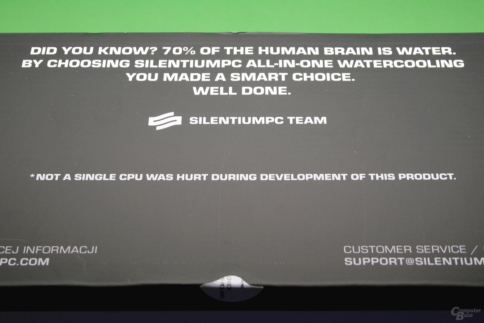 SilentiumPC Navis 280 RGB: Hinweis auf der Verpackung