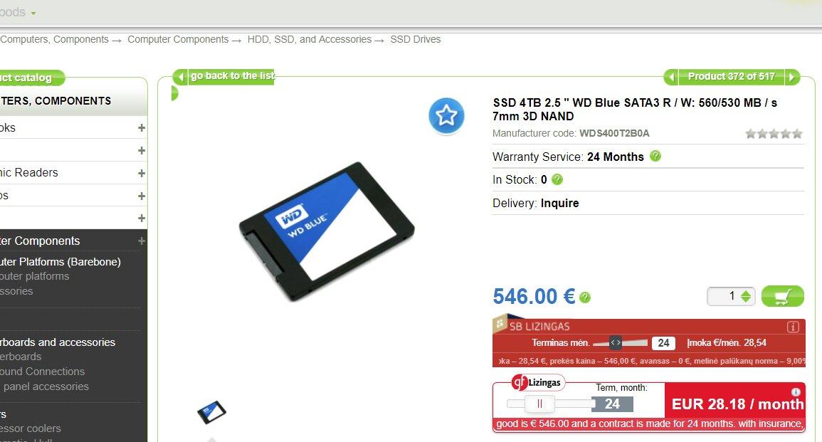 WD Blue 3D NAND SSD mit 4 TB bei Händlern