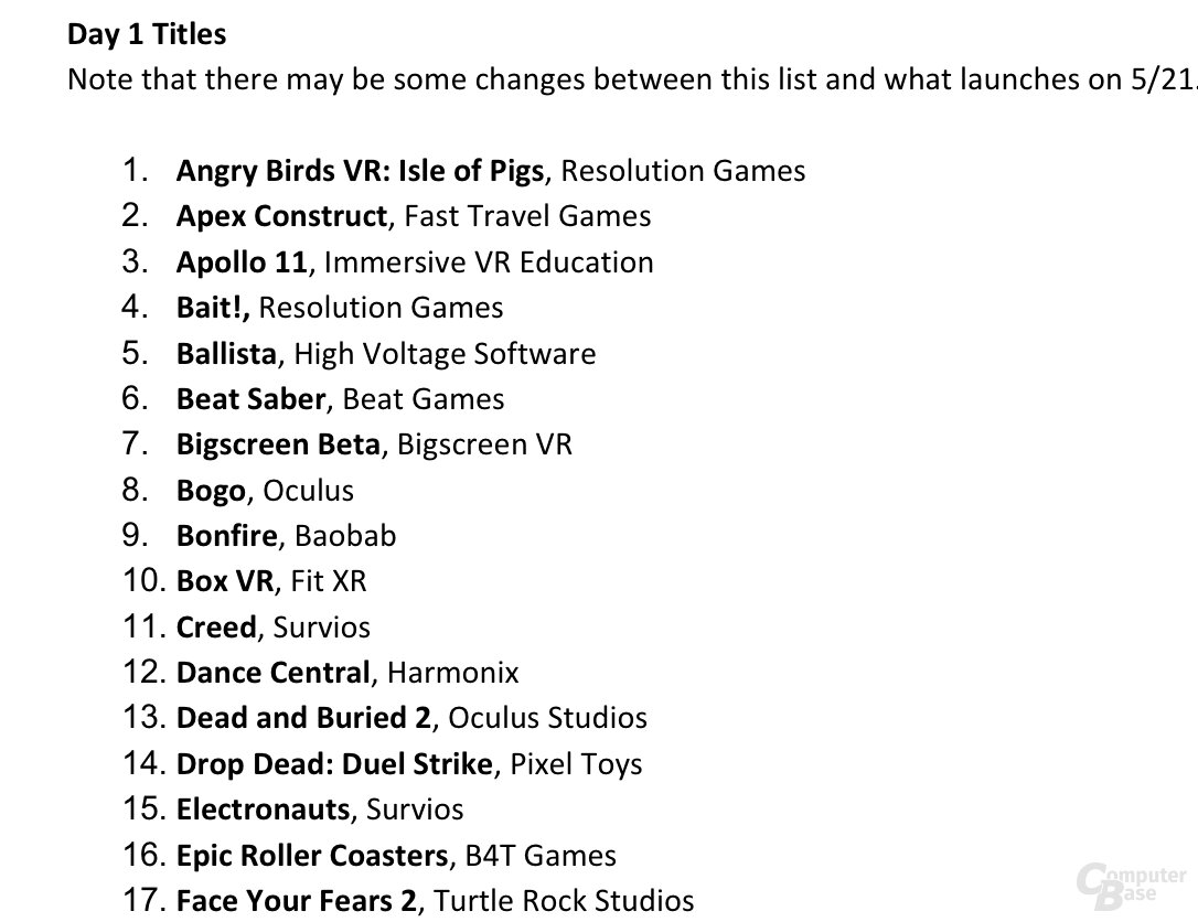 Oculus Quest Software zum Launch