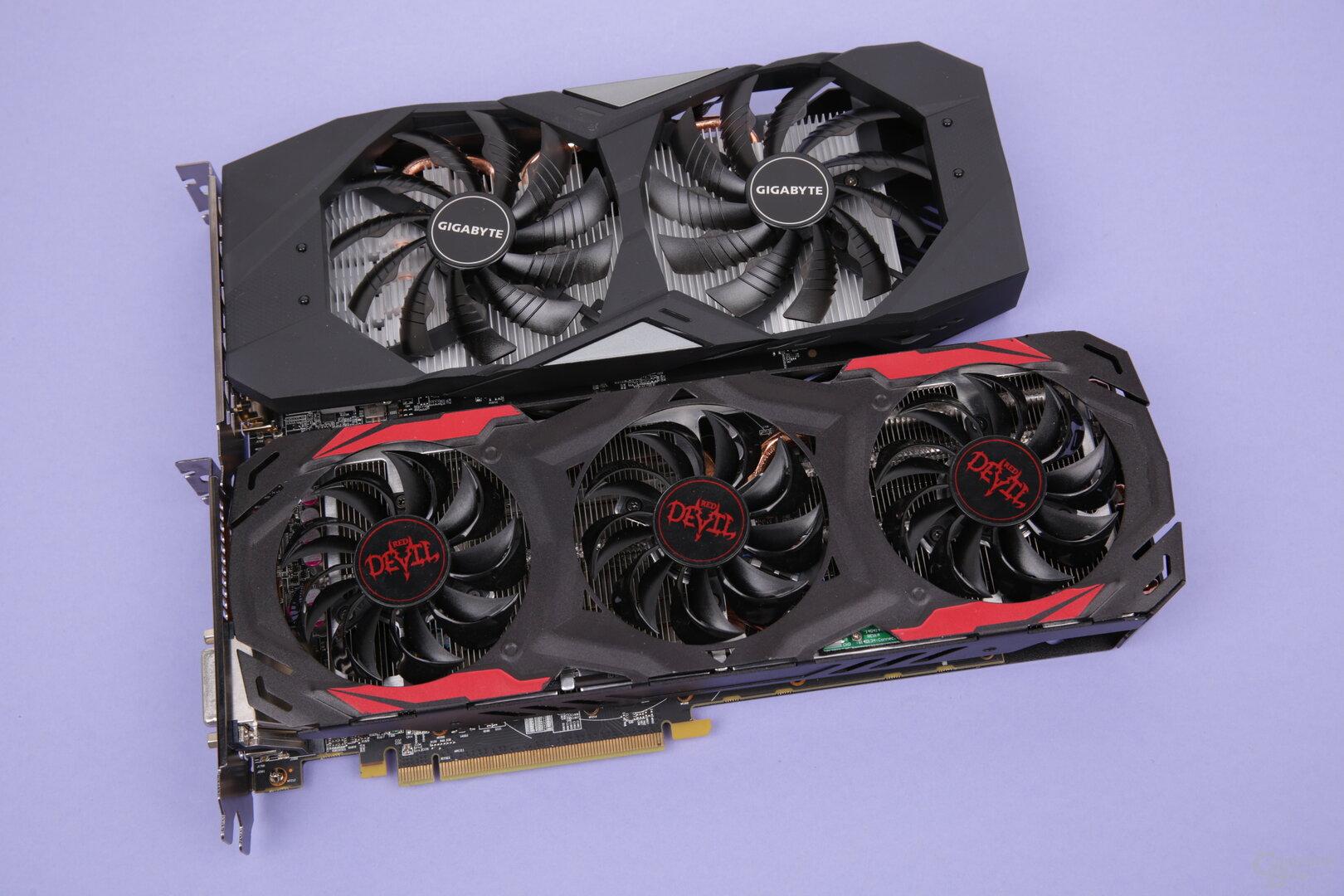 GeForce GTX 1650 (oben) und Radeon RX 570 (unten)