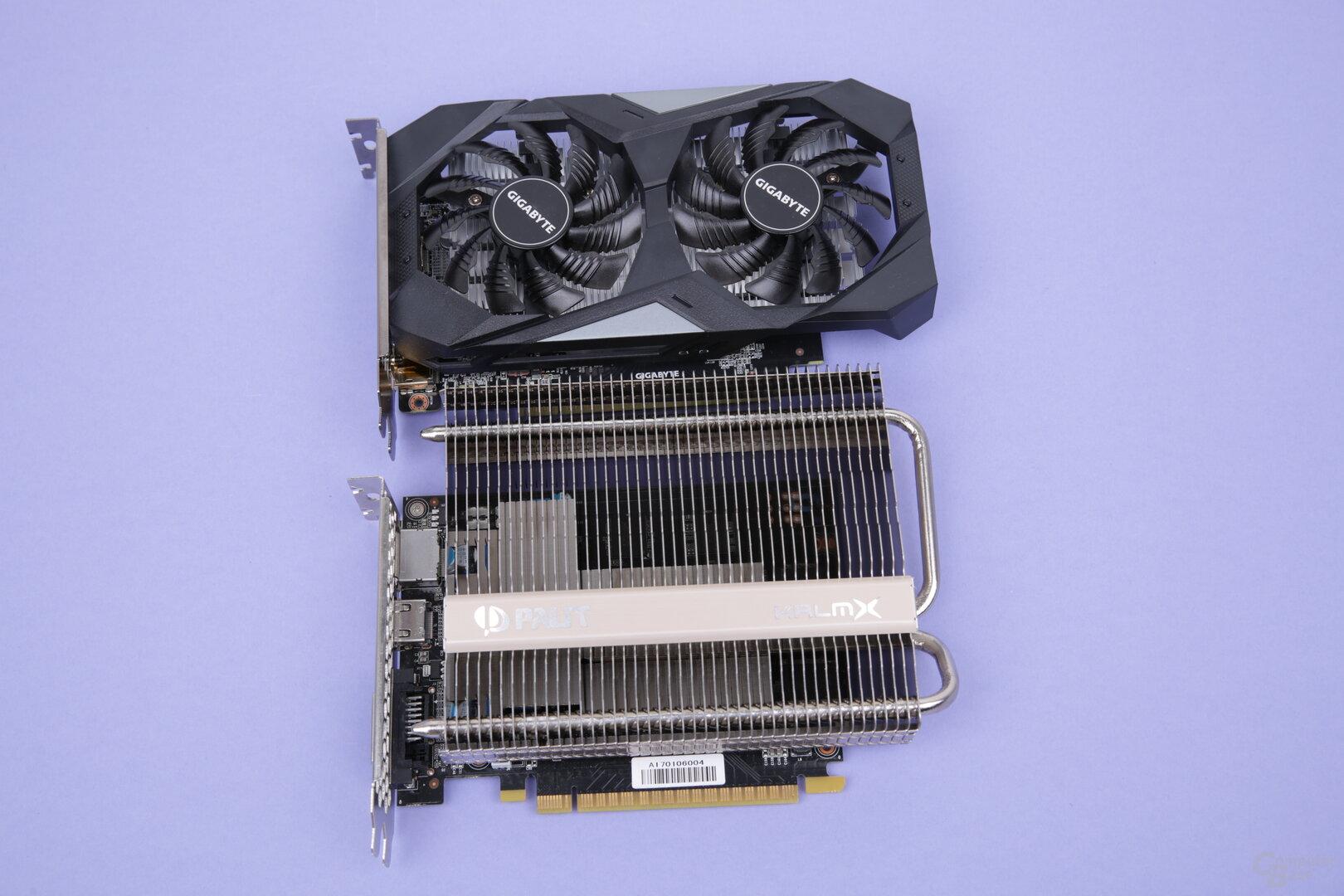 GeForce GTX 1650 (oben) und GeForce GTX 1050 Ti (unten)