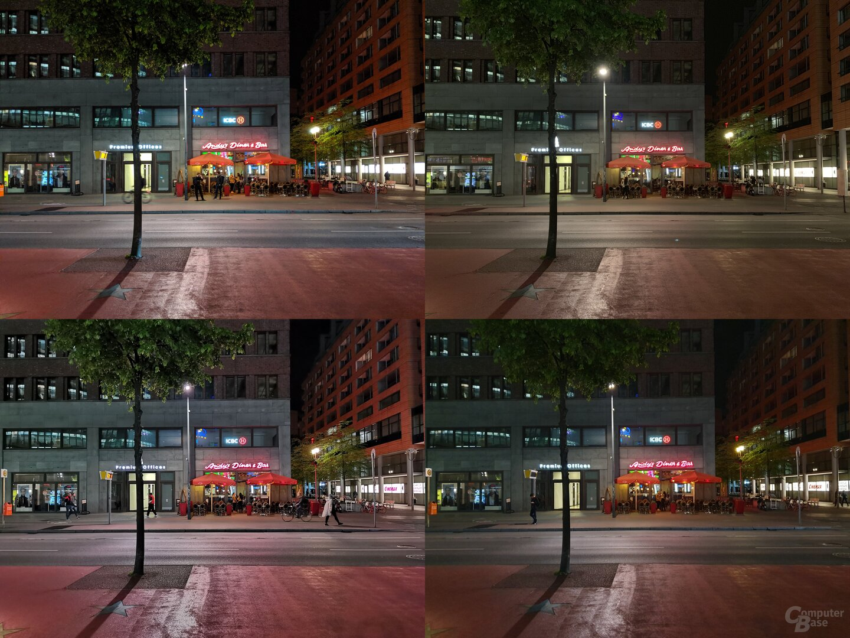 Pixel 3a, iPhone Xs Max, P30 Pro, Galaxy S10+ (v.l.n.r./o.n.u.)
