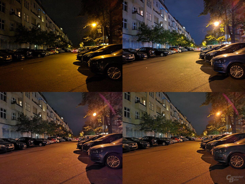 Pixel 3a, Pixel 3a (Nachtmodus), P30 Pro, P30 Pro (Nachtmodus) (v.l.n.r./o.n.u.)