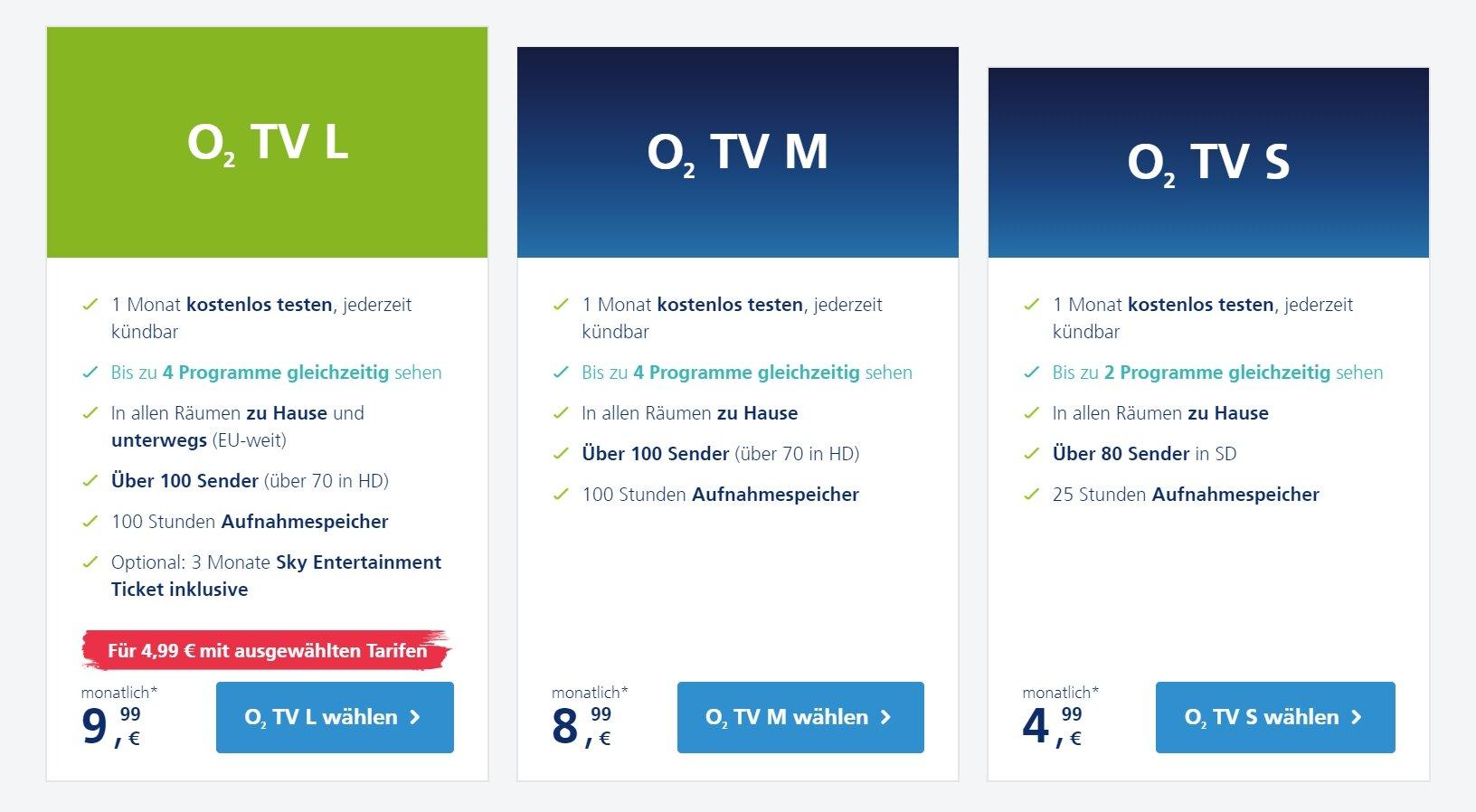 Drei O2 TV Pakete ab 4,99Euro