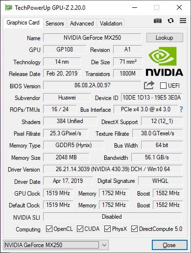 Eckdaten der GeForce MX250 (25 W) im Huawei MateBook 14