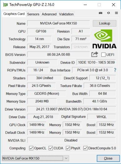 Eckdaten der GeForce MX150 (25 W) im Huawei MateBook 13