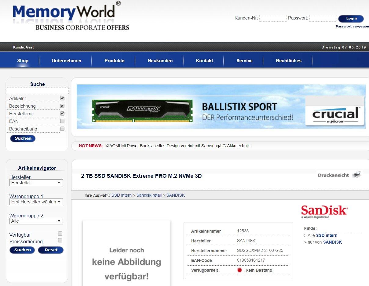 SanDisk Extreme Pro M.2 NVMe 3D SSD mit 2 TB gesichtet