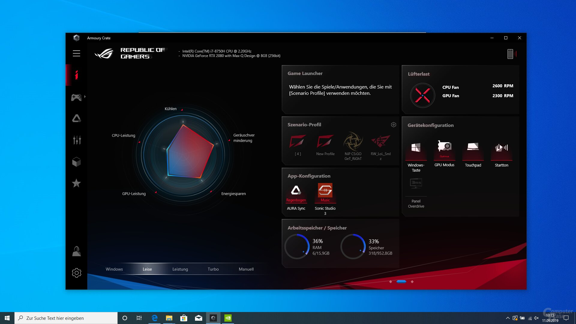 CPU- und GPU-Leistungseinstellungen in Armoury Crate