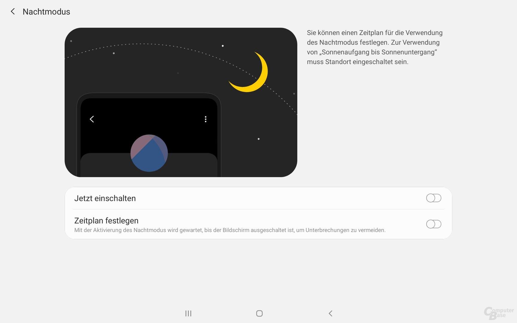Der Nachtmodus beim Galaxy Tab A 10.1 (2019)