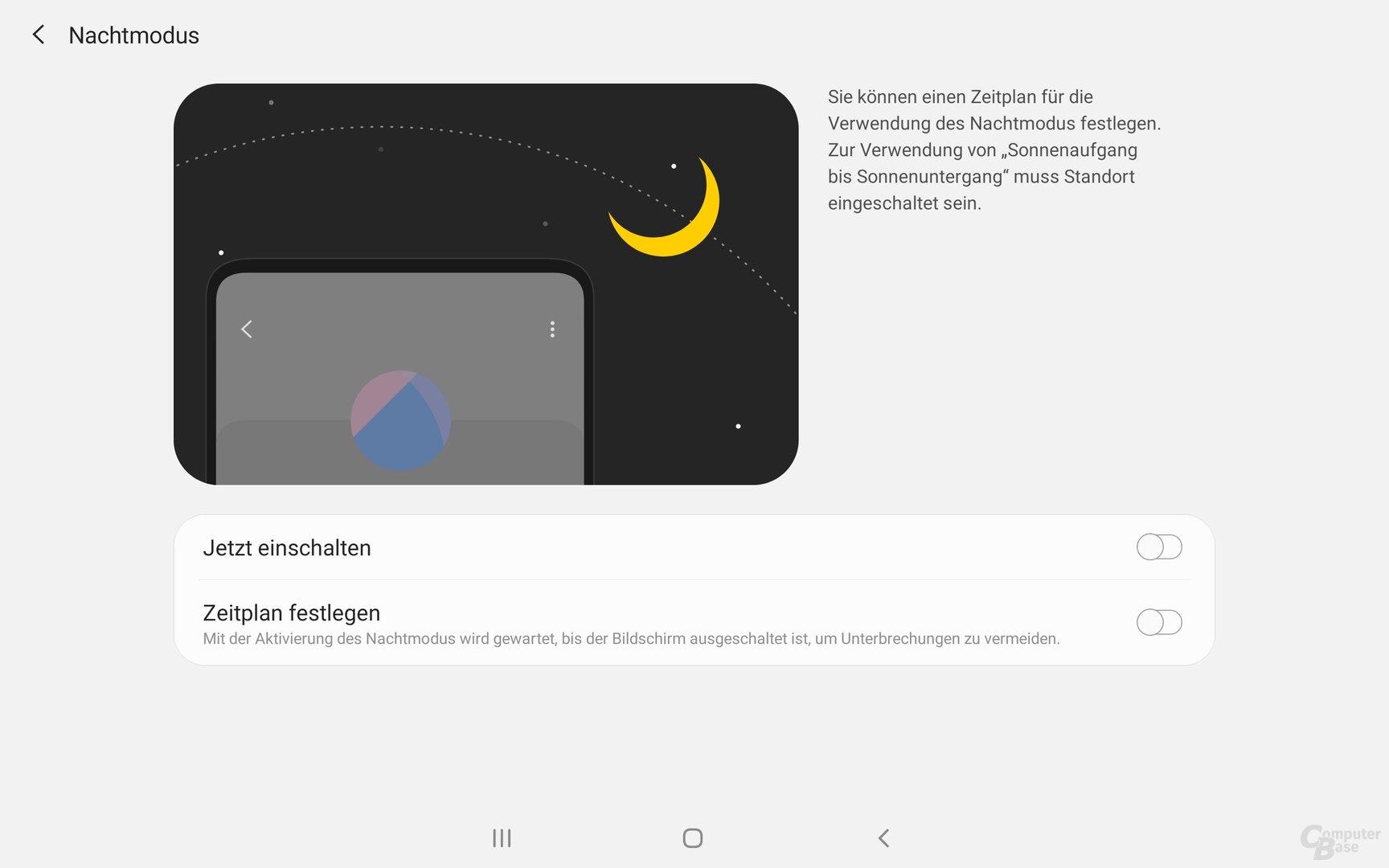 Der Nachtmodus des Galaxy Tab S5e
