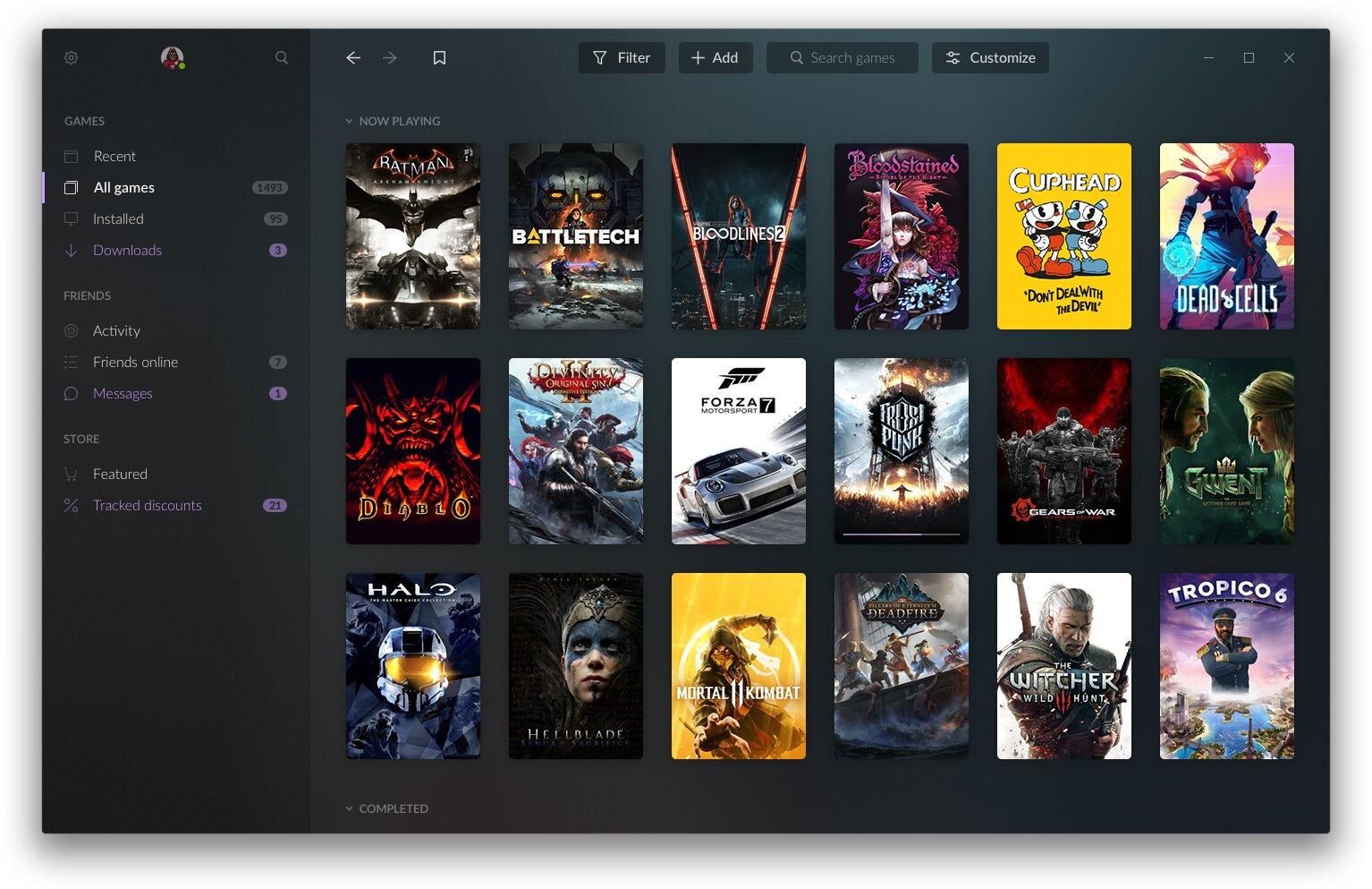 GOG Galaxy 2.0 – Spielebibliothek