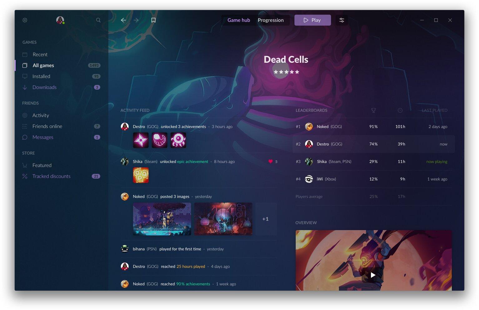 GOG Galaxy 2.0 – Spiele-Unterseite