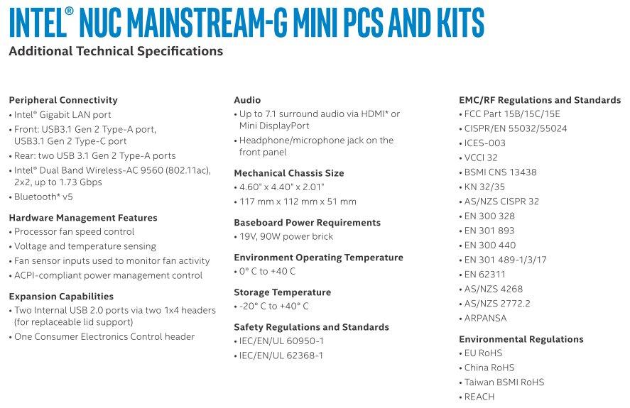 Intel NUC 8 Mainstream-G (Islay Canyon)