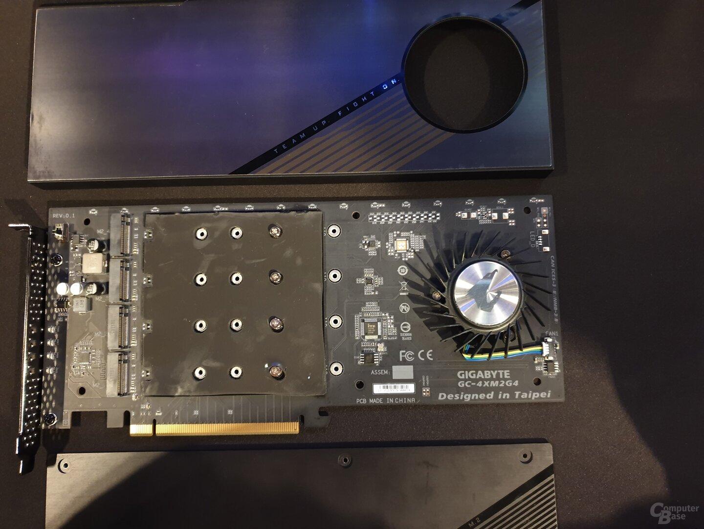 PCIe-Adapter für 4 M.2-SSDs mit PCIe 4.0
